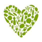 Healthy life - heart shape with vegetables for your design — Stockvector