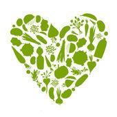 Vie saine - forme de coeur avec des légumes pour votre conception — Vecteur