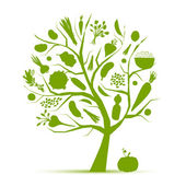 Healthy life - green tree with vegetables for your design — Vector de stock