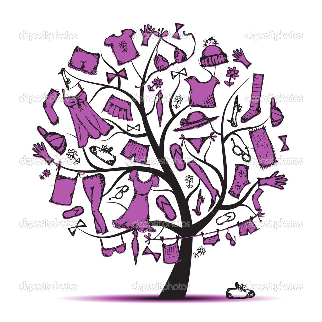 Wardrobe, clothes on tree for your design  — Stock Vector #5553577