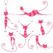 Graceful pink striped cats for your design - Stock Vector