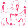 Royalty-Free Stock Vector Image: Graceful pink striped cats for your design