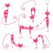 Graceful pink striped cats for your design — Stock Vector #5657617