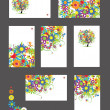 Royalty-Free Stock Vectorielle: Set of business cards, floral ornament for your design