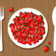 strawberry on plate with fork and knife on wooden background for your desig — Stock Vector