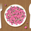 Raspberries on plate with fork and knife on wooden background for your desi — Stockvektor