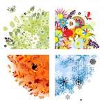 čtyři roční období - jaro, léto, podzim, zima — Stock vektor