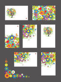 Set of business cards, floral ornament for your design — Vector de stock