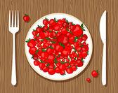 äpplen på tallrik med gaffel och kniv på trä bakgrund för din design — Stockvektor