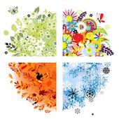 Dört mevsim - bahar, yaz, sonbahar, kış. — Stok Vektör