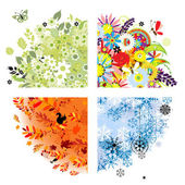 Vier seizoenen - lente, zomer, herfst, winter. — Stockvector