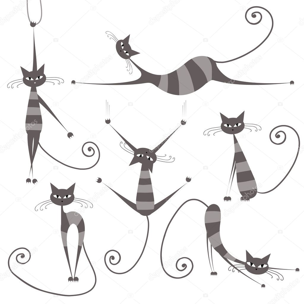 Graceful grey striped cats for your design   Stock Vector #5657609