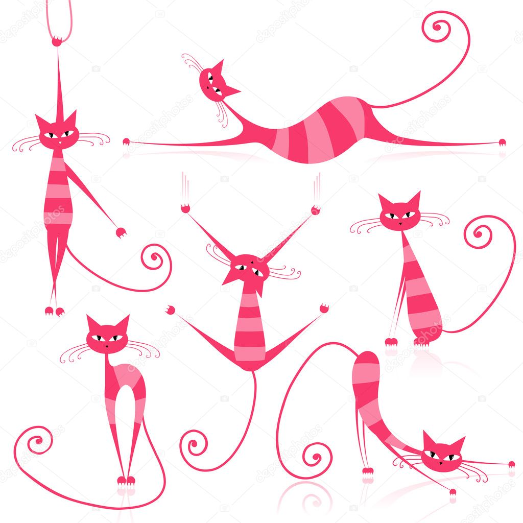 Graceful pink striped cats for your design   Stock Vector #5657615