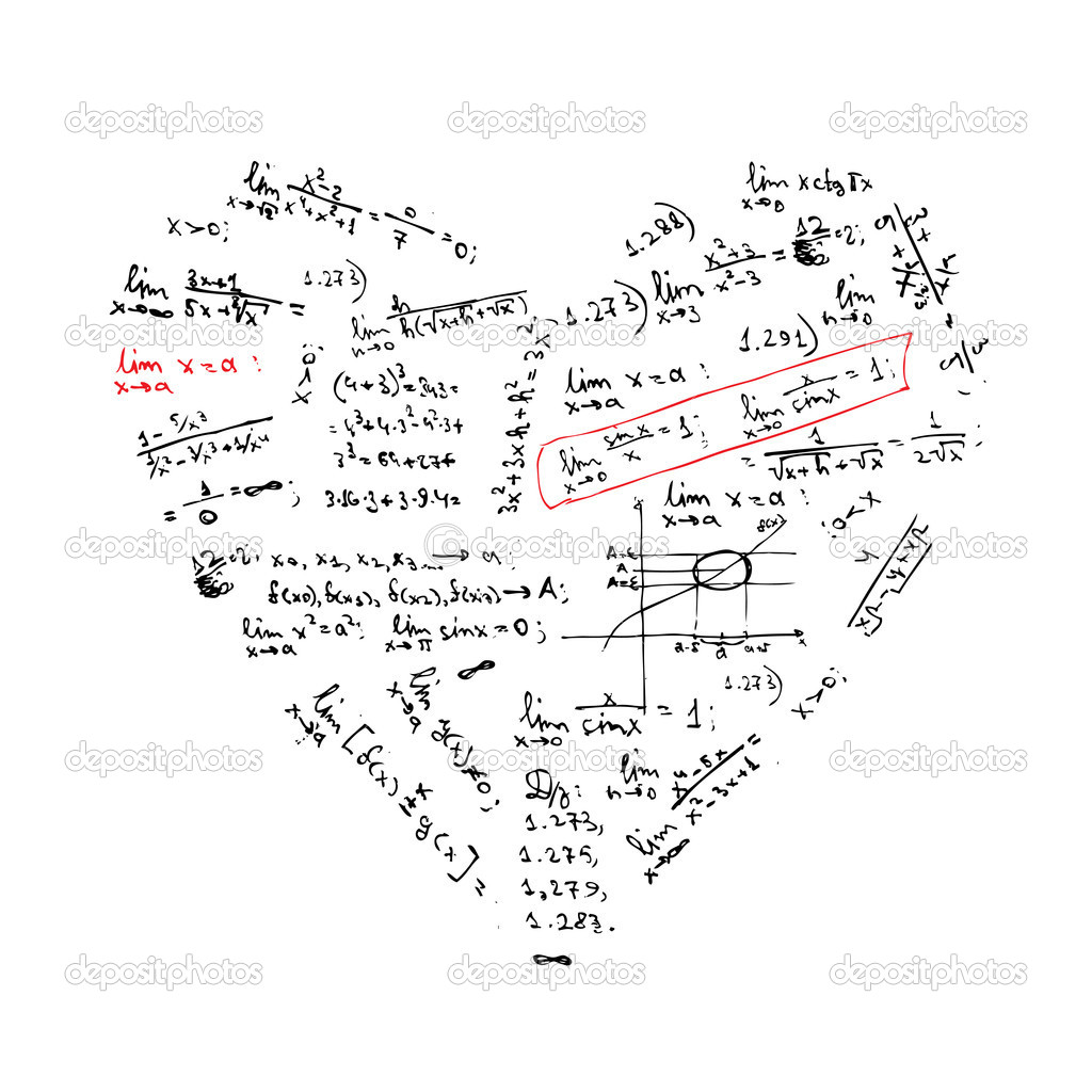 Heart shape with math formulas for your design — Image vectorielle #5657760