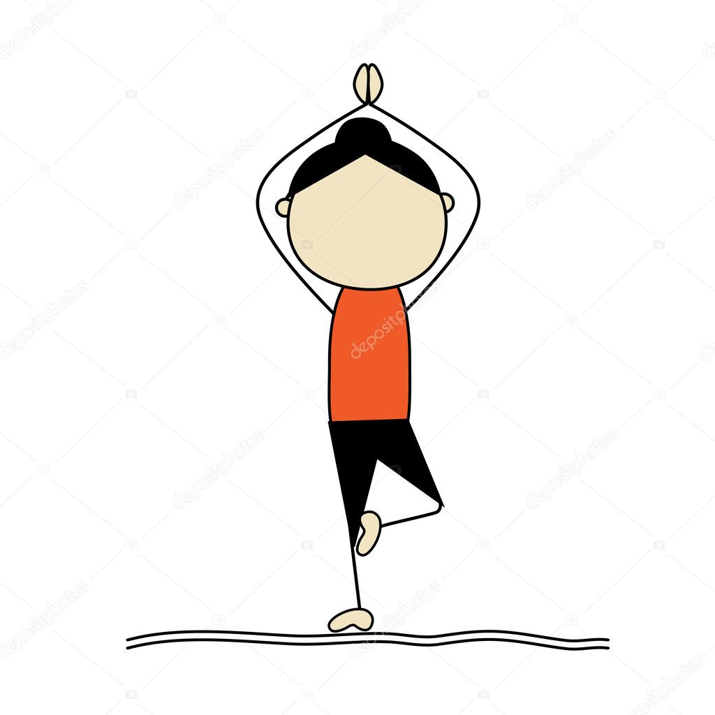 Woman practicing yoga tree pose stock illustration