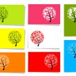 ストックベクタ: Set of trees, 10 cards for your design with place for your text