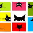 Set of funny cats, 10 cards for your design with place for your text — Stock Vector