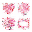 Summer style - tree, frame, bouquet, heart for your design — Image vectorielle