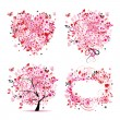 Summer style - tree, frame, bouquet, heart for your design — Векторная иллюстрация
