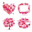 Summer style pink - tree, frame, bouquet, heart for your design — Stock Vector