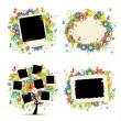 图库矢量图片: Family album. Floral tree with frames for your photos.
