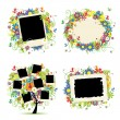 Family album. Floral tree with frames for your photos. — Stock Vector