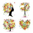 Summer style - tree, frame, bouquet, female head for your design — Stock Vector