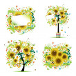 Summer style with sunflowers - tree, frames, bouquet for your design — Stock Vector