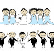 Stock Vector: Wedding party - bride and groom with friends