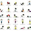 Stock Vector: Wompracticing yoga, 25 poses for your design