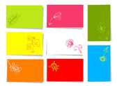 Set of floral cards for your design with place for your text — 图库矢量图片
