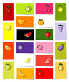 Set of fruits, 20 cards for your design with place for your text — Stockvektor