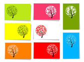 Conjunto de árboles, 10 tarjetas para su diseño con lugar para el texto — Vector de stock