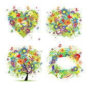 Summer style - tree, frame, bouquet, heart for your design — Stockvektor