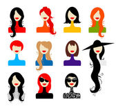 Set of woman's faces for your design — Stock Vector