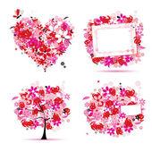 Estilo de verano rosa - árbol, marco, ramo, corazón para su diseño — Vector de stock