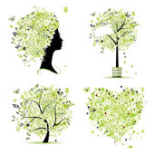 Spring style - tree, frame, female head, heart for your design — Stock Vector