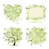 Spring style - tree, frame, bouquet, heart for your design — Vetor de Stock