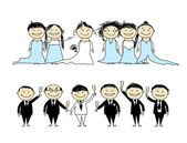 Wedding party - bride and groom with friends — Stock Vector