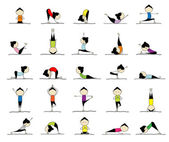 Woman practicing yoga, 25 poses for your design — Stockvektor