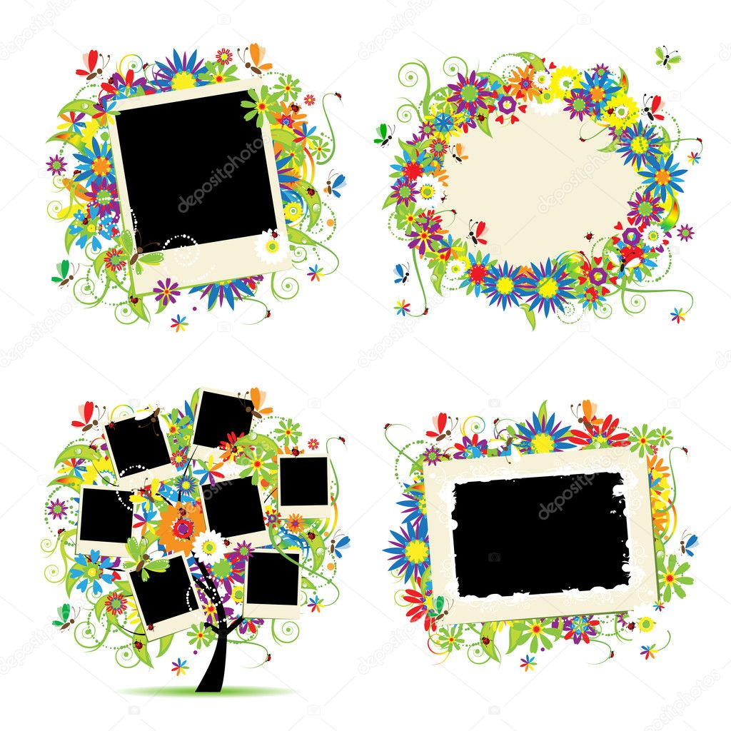 Family album. Floral tree with frames for your photos.  — Stock Vector #6059724