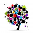 Memories tree with photo frames for your design, insert your picture - Stock Vector