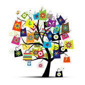 Shopping bags on tree for your design — Stok Vektör