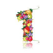 Numero uno fatto da frutta. vedere gli altri nella mia galleria — Vettoriale Stock