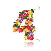 Nummer vier gemaakt van fruit. zie anderen in mijn galerij — Stockvector