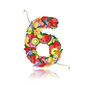 Numero sei fatta da frutta. vedere gli altri nella mia galleria — Vettoriale Stock