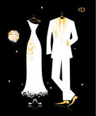 Wedding groom suit and bride's dress white on black for your design — Stock Vector