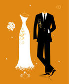Wedding groom suit and bride's dress for your design — Stock Vector