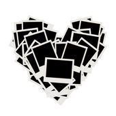 Pile of photos, heart shape, insert your pictures into frames — Stock Vector
