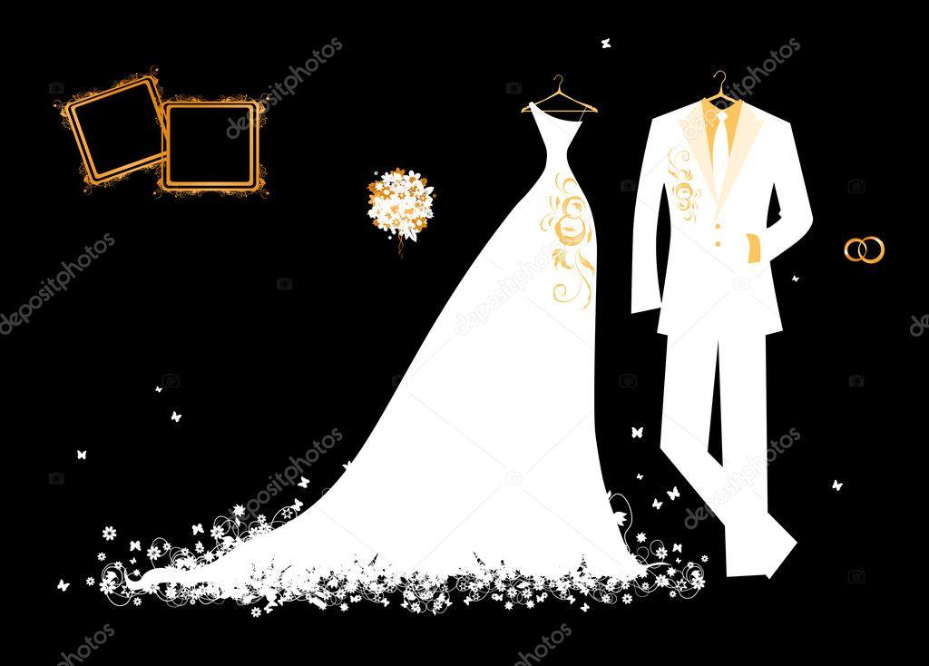 Boda Traje De Novio Y El Vestido De Novia Blanco Sobre